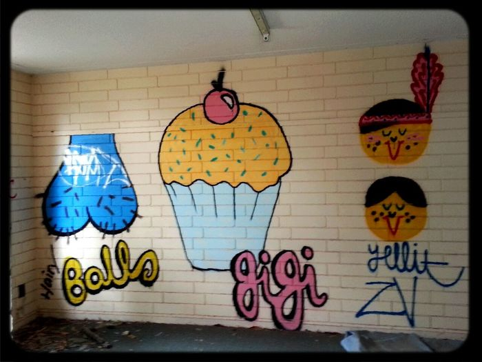 Graffiti in Abandoned Places Balls & Cupcakes & american indians