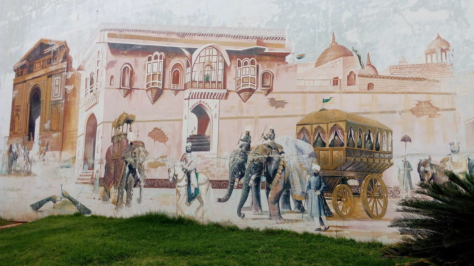 Mural Painting Wall Chiran Fort Painted Image Architecture Heritage Buildings Hyderabad,India