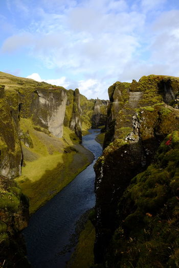 Magical Landscape Nature Beauty In Nature Canyon Cliff Edge Tranquil Scene Tranquility Stream River Valley Fjaðrárgljúfur Iceland