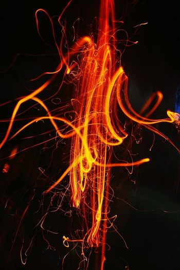 Close-up of illuminated fire in the dark