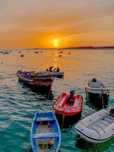 Harbour of Santa Maria, Sal Island, Cabo Verde, at sunset Water Sunset Sky Sea Cloud - Sky Fishing Boat Port