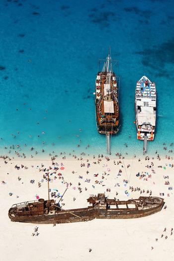 High angle view of boats moored on seas