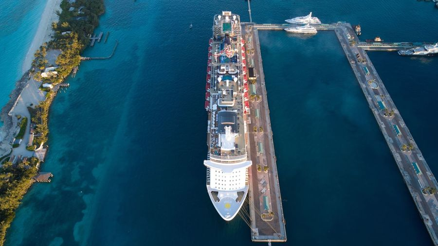 High angle view of cruise ship on sea