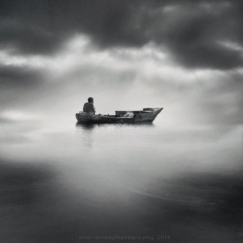 stranded Boats Sea Fisherman Monochrome_Monday