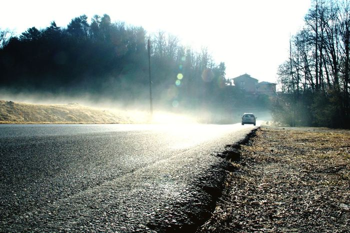 Foggy Road Foggy Foggy Day Car Car On The Road Shades Of Winter Transportation The Way Forward Nature Road No People Day Outdoors Tranquility Winter Cold Temperature Land Vehicle