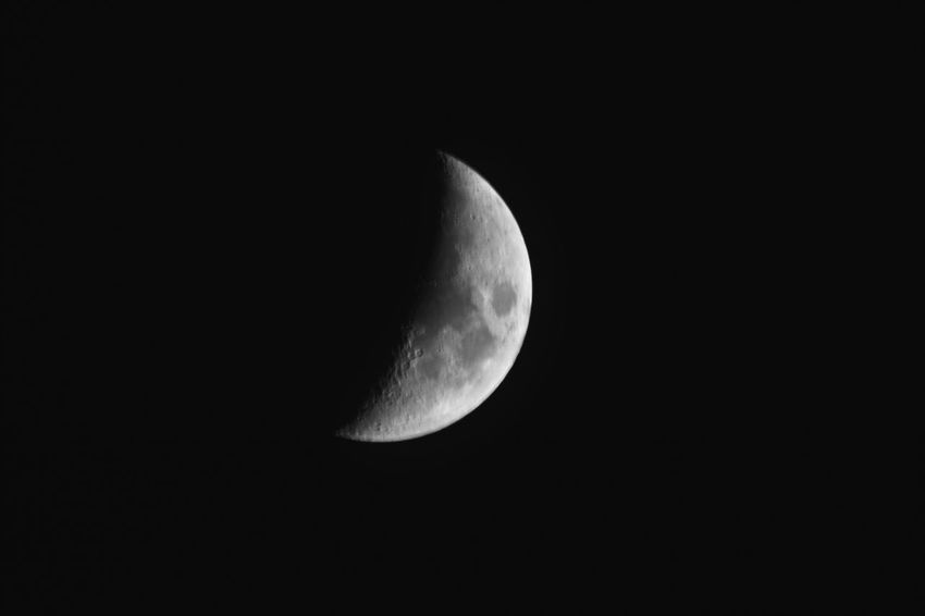 Astronomy Beauty In Nature Half Moon Moon Moon Surface Night No People Outdoors
