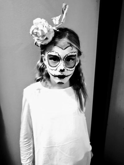 Eye Mask One Person Carnival - Celebration Event Halloween Face Paint Costume Mask - Disguise Looking At Camera Mystery Flower Head The Portraitist - 2017 EyeEm Awards Childhood Blackandwhite Black&white Black And White Photography Real People Black And White Family Close-up