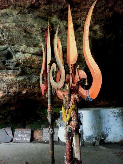 Close-up Focus On Foreground Metallic Orange Color Pachmari India Tridents