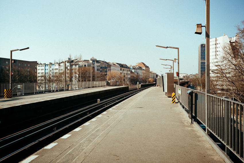Sunny midday Berlin Photography City City Life Public Transportation Station Urban Geometry Architecture Berliner Ansichten Building Exterior Built Structure City View  Clear Sky Day Daylight No People Outdoors Public Transportation Rail Transportation Railroad Track Sky Tracks Train Station Transportation Urban Urban Skyline