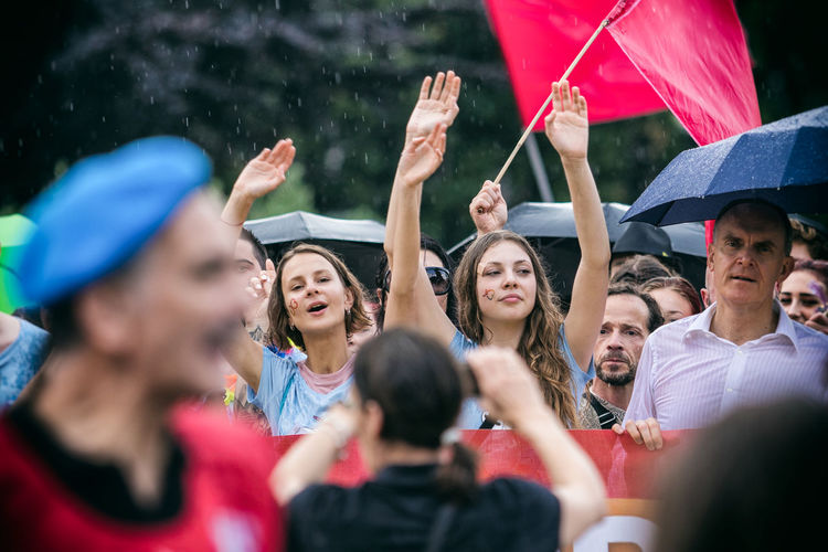 Love Is Love Fan - Enthusiast Young Women Togetherness Sport Popular Music Concert Headshot City Women Enjoyment Arms Raised Festival Goer Atmosphere Live Event Entertainment Event Horn Sign Applauding Performance Group Audience