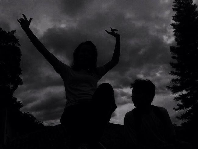 Silhouette Enjoying Life Rain