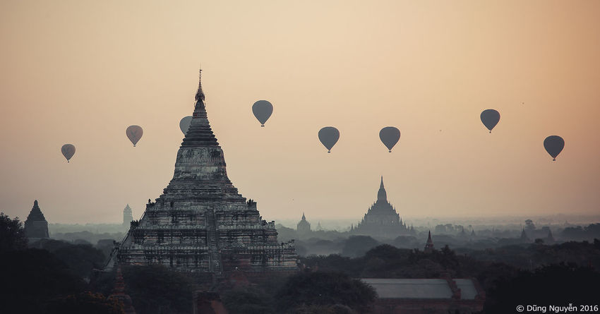 Rhythm of the balloons Architecture Bagan Balloons Over Pagodas In Bagan Buddhism Burma Architecture Heritage Hot Air Balloons Myanmar Pagoda Temple Rhythm Shewsandaw Sky Stupa Sunrise Sunset Silhouettes Temple First Eyeem Photo