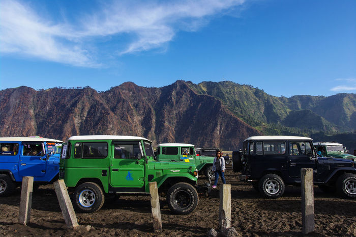 volcanic landscape ASIA EyeEm Best Shots EyeEm Nature Lover Green Green Color INDONESIA Motorcycle Nature Transportation Travel Photography Blue Car Cloud - Sky Color Jeep Landscape Mountain Nature_collection Outdoors Pentax Sky Truck Valley Vehicle Volcanic Landscape