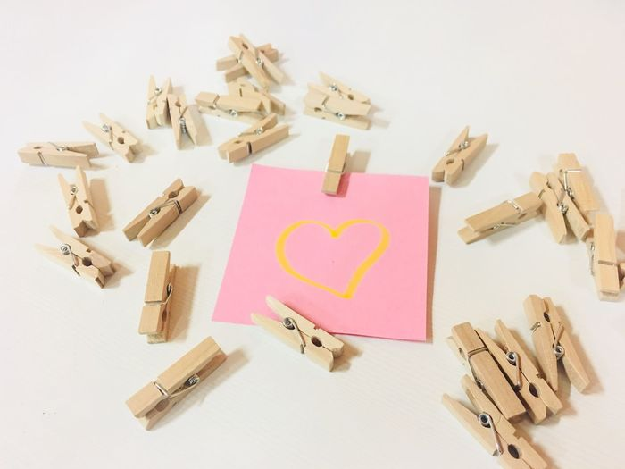 Love Note Paper Clip Paper Pink Clip Post It Note Note Pink Love Text No People Large Group Of Objects Love Indoors  Studio Shot Childhood White Background Day