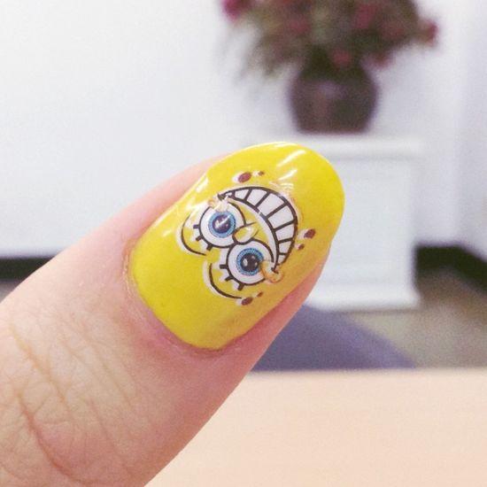 Nails Spongebob Nail Art Self Nail