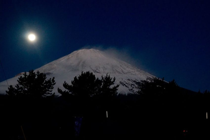Mount FuJi Japan Superb View Superb View Of Japan Cure Sky Full Moon The Nature. Night
