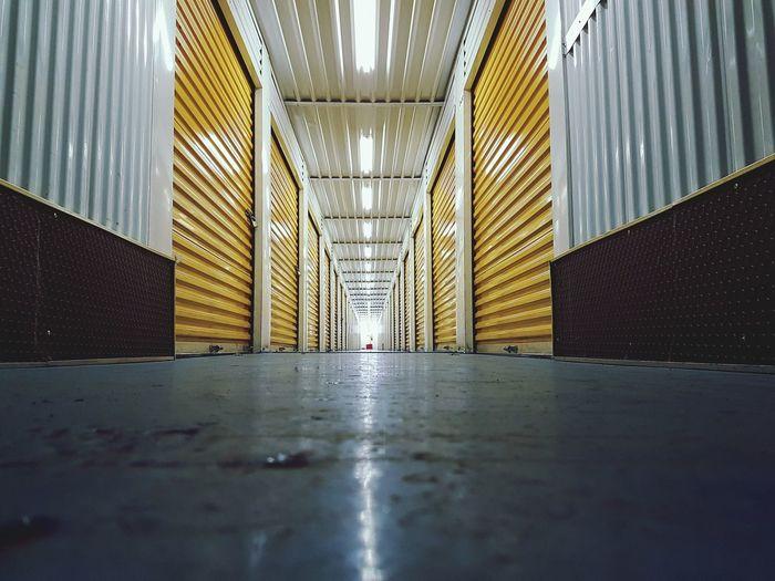 Surface level of empty illuminated corridor