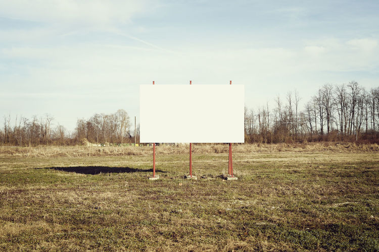 Blank advertising billboard in the middle of a field (Piedmont, Italy) Piemonte Italy Field Sky Land Grass Nature No People Landscape Tranquility Tranquil Scene Blank Communication Architecture Billboard Outdoors Cloud - Sky Environment Day White Color Claim Message Message To The World EyeEm Selects EyeEm Gallery