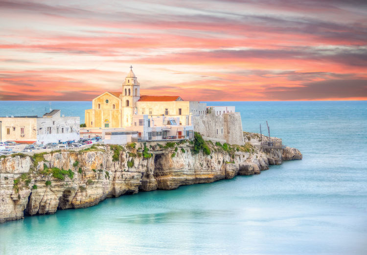 Seascape from Vieste (FG) - italy, HDR version Architecture Church Cityscape Cloud Cloudy HDR Hystorical Mediterranean  Mediterranean Sea No People Outdoors Place Of Worship Rock Scenics Sea Sea And Sky Seascape Sunset Travel Destinations Vieste Vieste Puglia Water