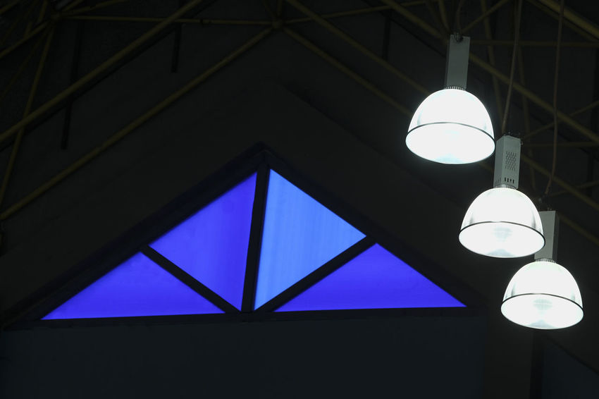 Spotlight at the stadium Architecture Ceiling Close-up Day Electricity  Hanging Illuminated Indoors  Lighting Equipment Low Angle View No People
