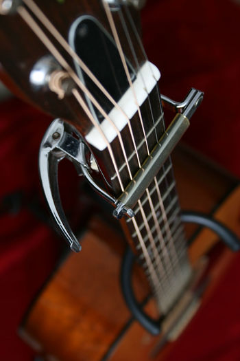 Accoustic guitar, focus on neck and strings Music Musical Instrument String Instrument Arts Culture And Entertainment Musical Equipment Guitar String Musical Instrument String Close-up Selective Focus Indoors  No People Wood - Material Fretboard Still Life Two Objects High Angle View Studio Shot Rock Music Accoustic Guitar