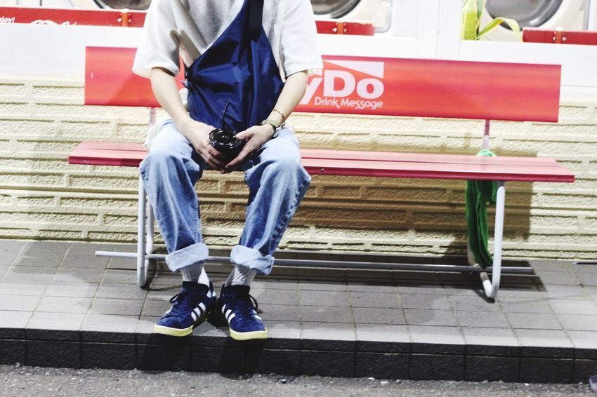 Sitting One Person Casual Clothing Day Low Section Real People Men Outdoors One Man Only Adult People Adults Only Japan Japan Photography Japanese  Bench Chair Sheet Focus On Foreground Canon Canon 70d