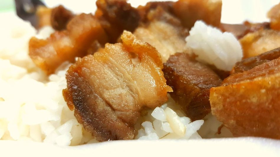 Fried pork with cooked rice Cooking Eat Delucious Pork Rice Menu Food And Drink Food Backgrounds Indoors  Close-up Textured