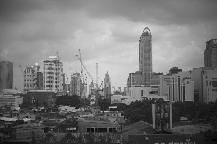 Bangkok Construction Rainy Days Backgrounds Built Structure Cloud - Sky Hi Rise Photography Skyscraper