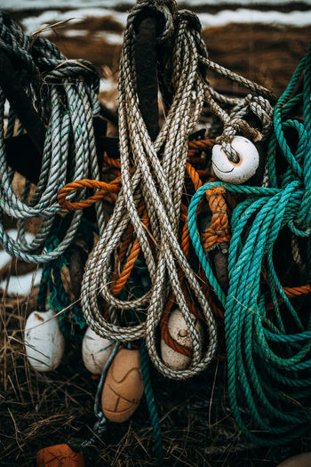 Chilly day in Yngsjö. EyeEm Best Shots The Week on EyeEm Buoy Cleat Close-up Day Fishing Equipment Fishing Net Harbor High Angle View No People Outdoors Rope Strength Tied Knot Tied Up