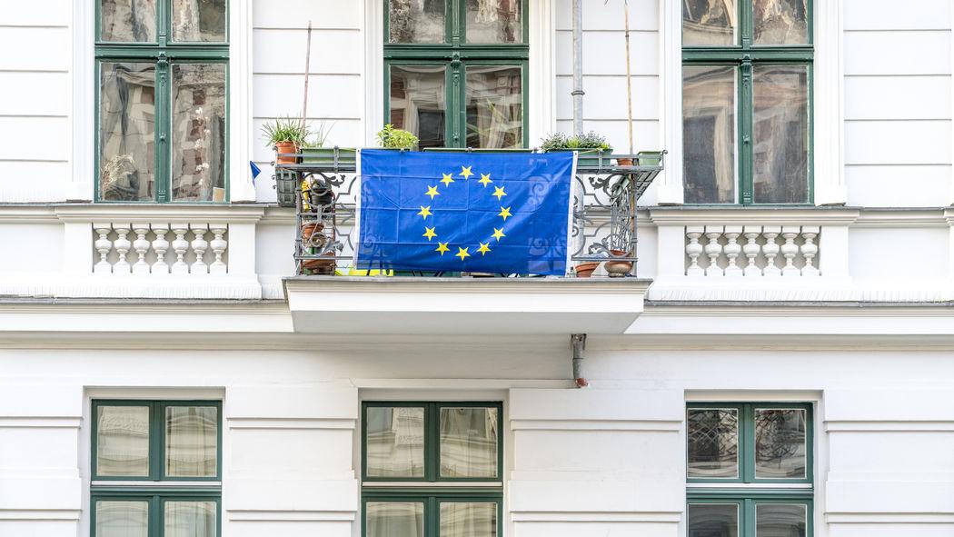Balcony Berlin Conflict Europe European Union Flag Gentrification House Kreuzberg Opinion Opposition Politics Social Issues Society Stars Symbol Union