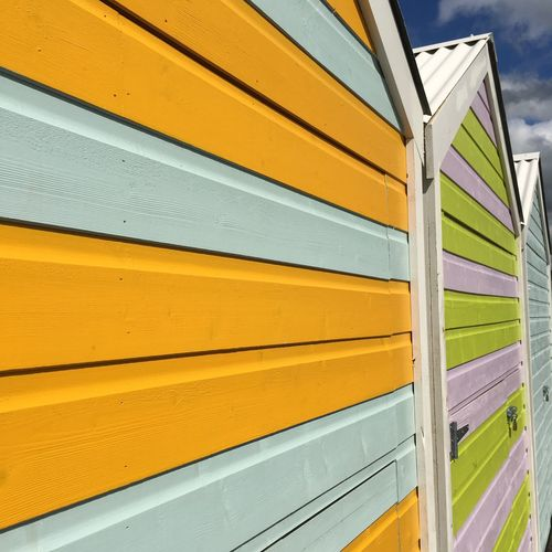 Close-up of multi colored yellow wall