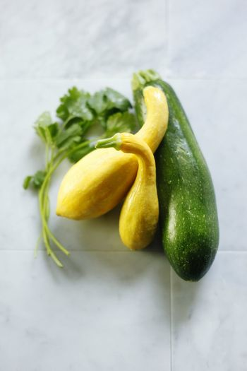 High angle view of zucchini on table
