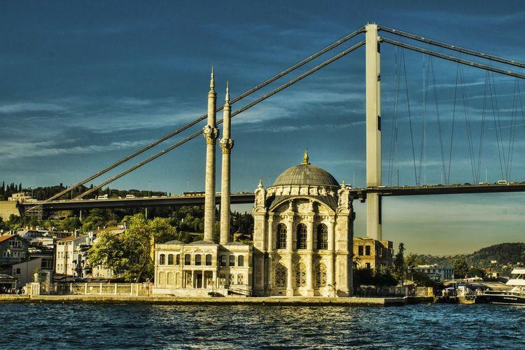 Ortakoy mosque next to bosphorus bridge
