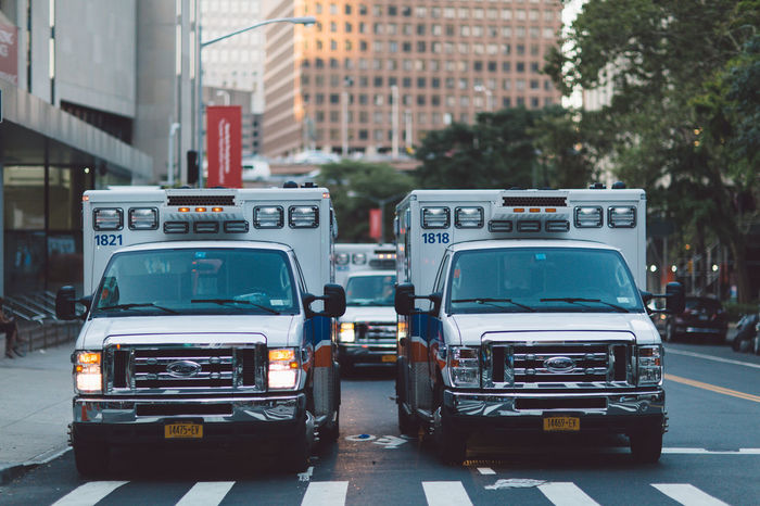 Hospital Manhattan NY NYC New York New York City Ambulance Ambulance Service Architecture Building Exterior Car City Day Land Vehicle Mode Of Transport No People Outdoors Road Stationary Transportation