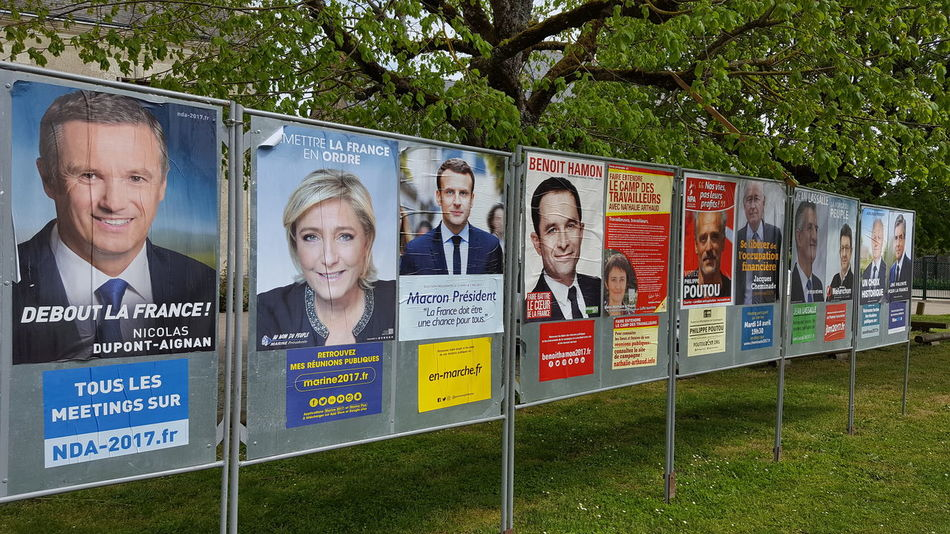 2017 French Presidential Candidates on display in the village of Bossee, Indre-et-Loire, France. France 2017 French Presidential Candidates Election 2017 Bossee Village Life Posters People Green Trees Tranquil Scene Portraits EyeEmDiversity Marine Le Pen Politics Politicians Resist If Trees Could Speak