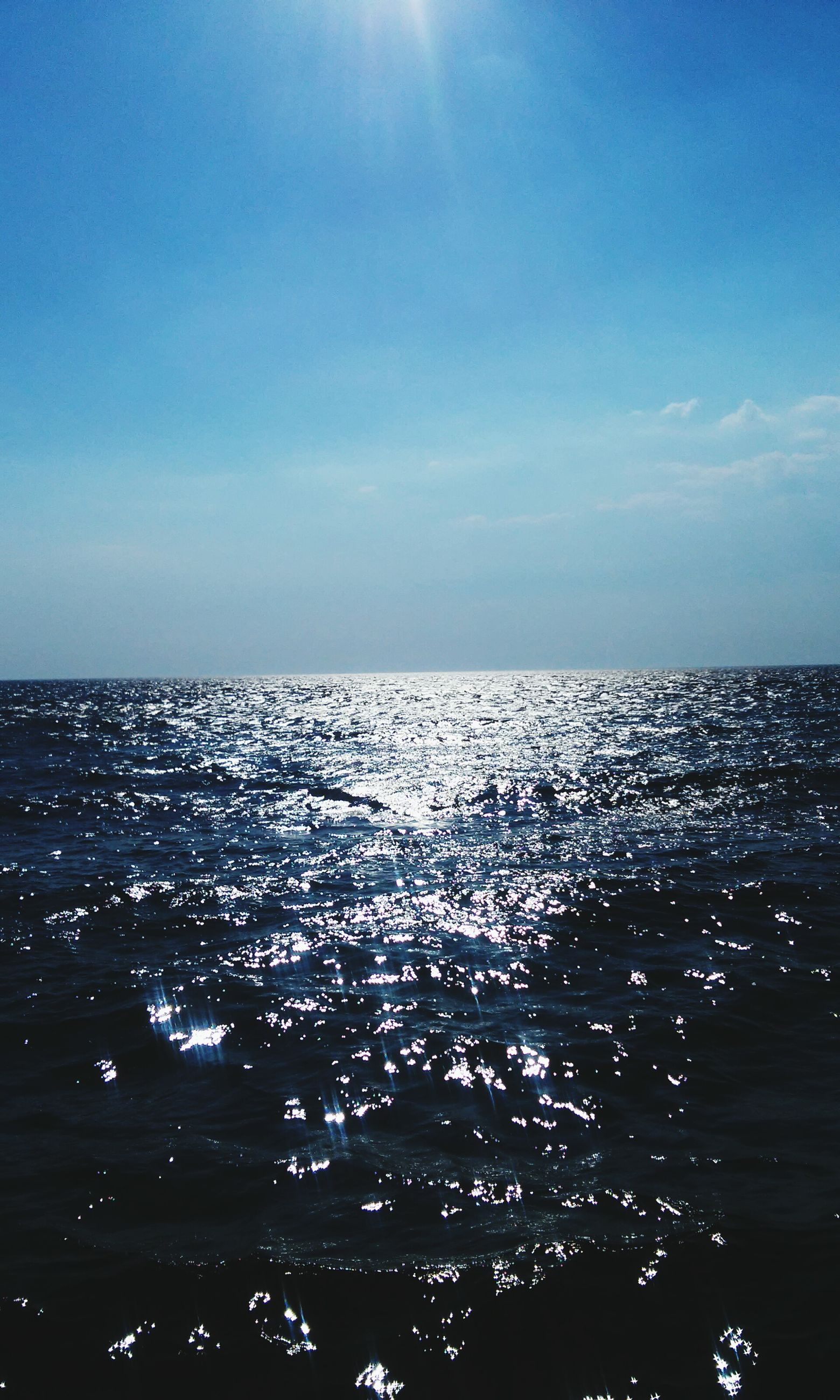 water, sea, horizon over water, scenics, beauty in nature, waterfront, tranquil scene, tranquility, blue, sky, nature, rippled, idyllic, seascape, outdoors, clear sky, reflection, no people, sunlight, day