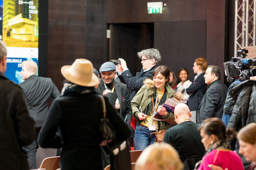 Berlin, Germany - February 23, 2018: crowd of visitors and journalists at the 68th Berlinale International Film Festival Berlin 2018 Film Festival Berlinale Berlinale 2018 Berlinale Festival Berlinale2018 Berlinale68 Press Conference