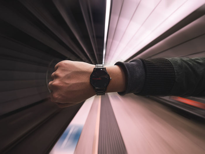 Clock Fist Hand Holding Late Leading Lines Lines Man Made Object Motion Motion Blur Running Late Sky Steps Subway The Way Forward Time Train Underground Watch Wrist Wristwatch