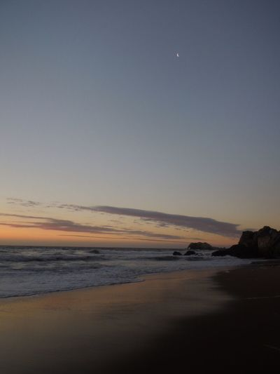 After The Sunset Beach Photography Life Is A Beach Sand & Sea Sand Reflection Sky And Clouds Moon And Sky Pastel Nature Idyllic Scenery Moments Lovely Weather Moments Beautiful Moon  Reñaca Beach , Chile
