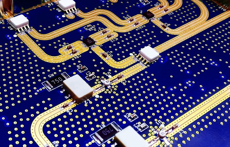 line circuit on board electronic for background concept technology. Electronic Technology Circuit LINE Digital Pattern Close-up