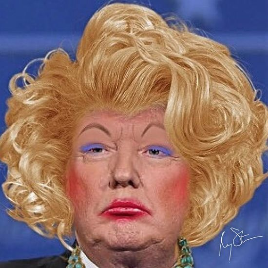 Donald Trump in drag. Lgbtq Lgbt ❤️ Gay Nasty Woman Drag Queen Donald Trump Headshot Portrait Blond Hair Hair One Person Front View Women Adult Close-up Hairstyle Looking At Camera Indoors  Human Face