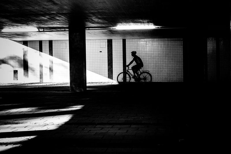 Silhouette man riding bicycle on city