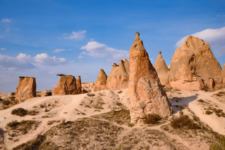 Rock formations on sunny day