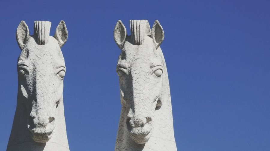 Blue Clear Sky Low Angle View Sky No People Close-up Statue In The City Horses Head Horses Statue Blye Sky Stone Stone Material BYOPaper!