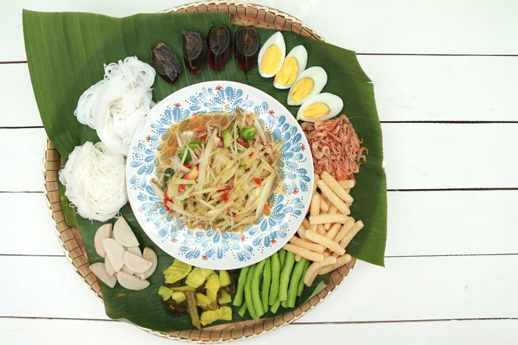 Thai Food Thai Food Good Taste Vegetarian Food Gourmet Plate Homemade Directly Above Appetizer Healthy Lifestyle Vegetable High Angle View Food Styling