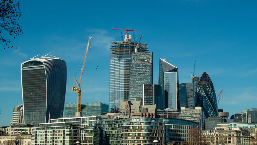 London skyline featuring the walkie talkie building, 20 fenchurch street, to the gherkin