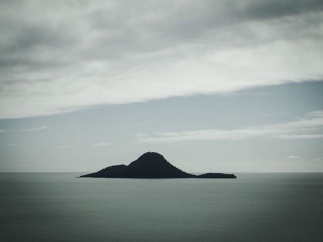 Tranquil Scene Tranquility Nature Sky Scenics Beauty In Nature No People Sea Horizon Over Water Cloud - Sky Water Mountain Outdoors Landscape Day Whale Island Island Ohope New Zealand View From Above Panoramic Blackandwhite Black And White