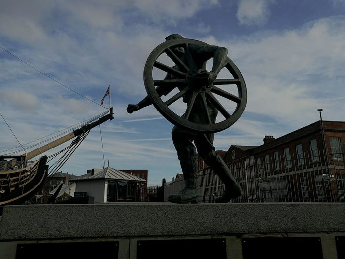 Portsmouth Historic Dockyard Portsmouthphotographer Portsmouth Harbour Outdoors Gunship Statues Streetphotography Sky And Clouds Wintertime Wanderlust Culture History Historic City United Kingdom EyeEmNewHere EyeEmNewHere