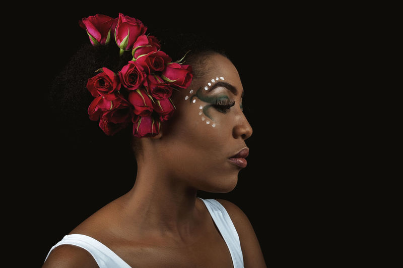 African Woman  African Lady Black Woman My Best Photo Headshot Flower Flowering Plant Portrait Studio Shot Young Adult One Person Plant Indoors  Beauty Make-up Young Women Copy Space Close-up Black Background Looking Away Beautiful Woman Human Body Part Looking Cut Out Fashion Human Face Flower Head Contemplation Eyeshadow Eyelash Lipstick Skin