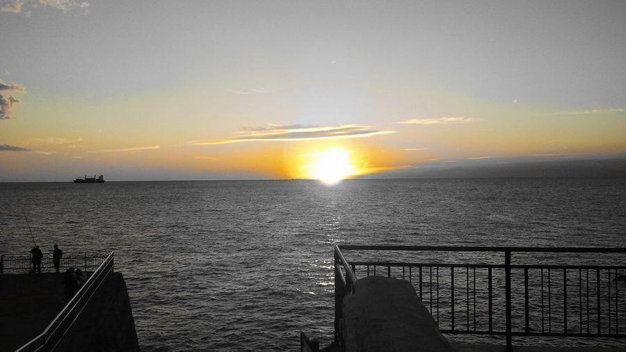 Unicolor Sunset Horizon Betweenskyandsea